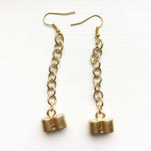 Chic & dainty long gold tube drop earrings